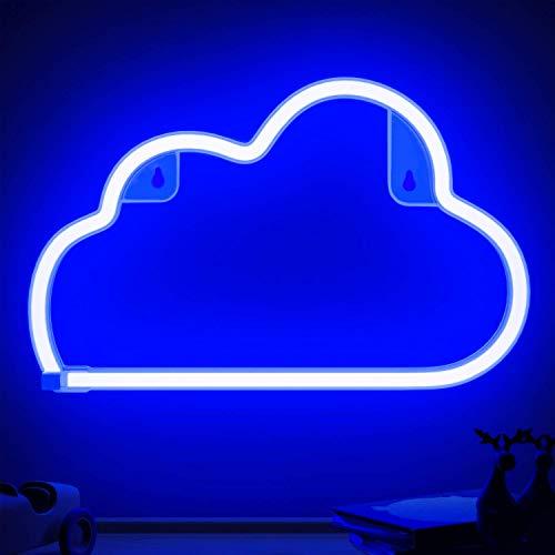 XIYUNTE LED Neonlicht Wolke Neon Sign Cloud LED Neon Schild Wolke, Batterie oder USB betrieben Neon Light Cloud für Wand Dekoration für Weihnachten/Christmas, Kinderzimmer, Bar, Party, Blau
