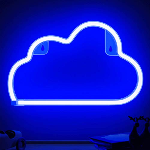 XIYUNTE Blue Cloud Light Neon Signs Neon Lights for Wall Decor, Battery or USB Operated LED Cloud Neon Light Signs Light up for Bedroom, Christmas,Living Room, Kids Room, Birthday Party, Bar
