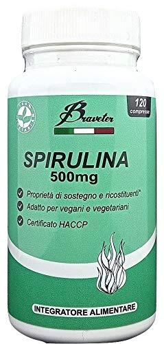 Braveter Spirulina Alga Naturale 120 Compresse In Polvere Integratori Benessere Aumenta Difese Immunitarie Energizzante Azione Ricostituente Metabolismo
