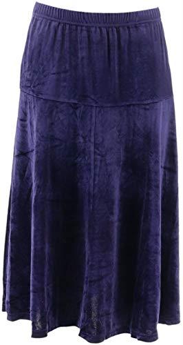 Bob Mackie Pull-On Velvet Flare Skirt Purple XL New A344692