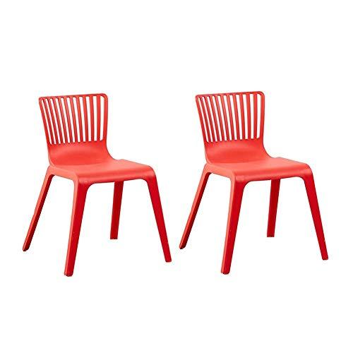 HFJKD Stühle stapelbar Moderne Kunststoff-Stühle Küche Dining Chair Außenpatio Schlafzimmer-Pack-2 (Farbe: rot)