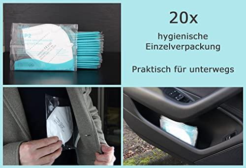 20x einzeln verpackte FFP2 Mundschutz, CE Zertifiziert und DEKRA geprüft nach EN149: 2001 + A1: 2009, Faltbare Halbmasken mit Nasenbügel und weichen elastischen Ohrschlaufen - 3