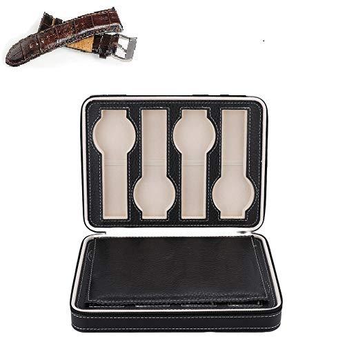 yuyte Caja de Relojes, 8 Cuadrículas Caja de Reloj portátil y de Cuero, Caja de Almacenamiento de Reloj de Viaje con Cremallera, Cofre de Reloj Unisex, Negro