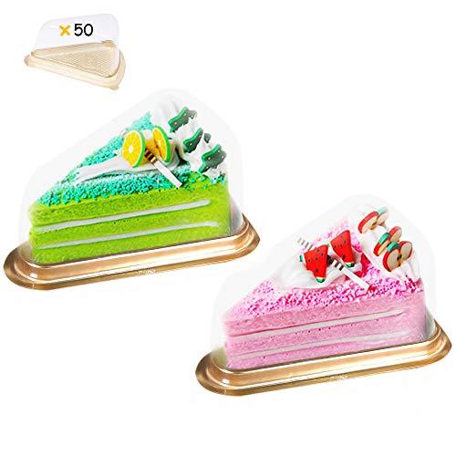 50 Piezas Recipiente para conservar y Transportar Tartas, Caja Triangular para Tarta de Postre, Rebanadas de Tarta,Contenedor Triangular Transparente