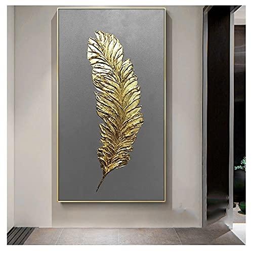 DIY 5D Large Diamond Painting Hojas de plumas doradas Kits de Perforación Completos Rhinestone Picture Art Craft para decoración de la Pared del hogar 30x90cm Square Drill