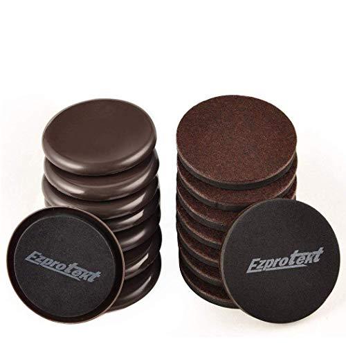 Ezprotekt 8,9 cm braun rund Möbelgleiter Möbel und Filz Pads Stuhl Bein Bodenschoner für Teppich, Hartholz und harte Oberfläche, Set von 16