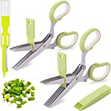 2 Packs Herb Scissors Set - Including Herb Scissors with 5 Blades and Cover, Herb Scissors with 3 Blades, Shred Silk Knife, Used For Cutting Cilantro Onion Salad etc. Also Used for Cutting Paper.