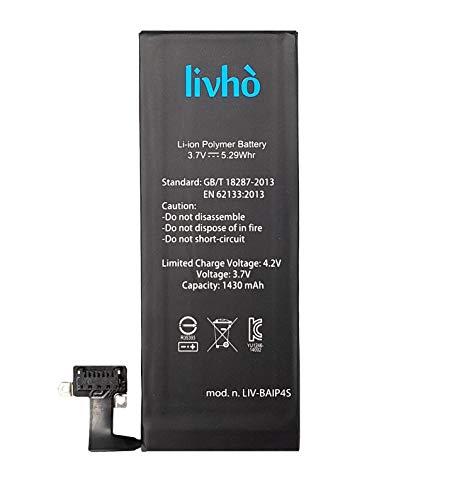 livhò Akku Ersatz kompatibel mit iPhone 4S / Batterie 1430 mAh