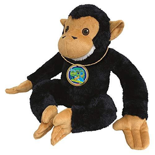 EcoBuddiez - Chimpancé de Deluxebase. Peluche Mediano de 20 cm elaborado con Botellas de plástico recicladas. Lindo Peluche ecológico con Forma de animalito para niños pequeños.