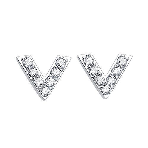 Mini 925 Sterling zilveren oorstekers, eenvoudige letter V vorm piercing oorbellen met gemonteerde Bling AAA zirkon/oor gat zorg Bar voor vrouwen meisjes