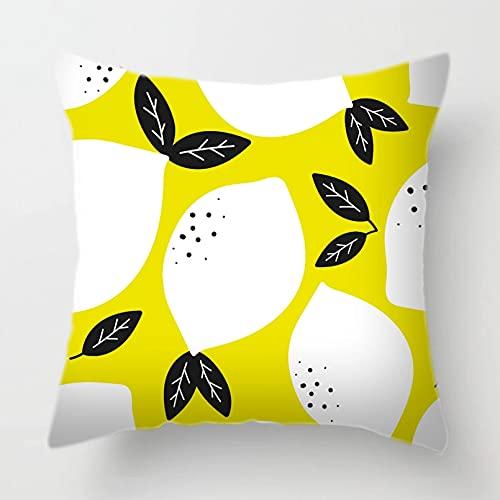 OEWFM Funda de Almohada para sofá Geometría Frutas Pera Silla de Comedor Funda de cojín de poliéster Flores Hermosa Caricatura Rosa Azul Amarillo Funda de Almohada Decorativa Sofá 45X45CM