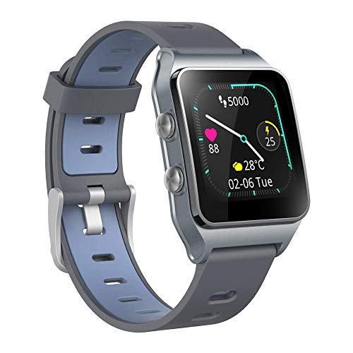GPS Smartwatch 17 modo deportivo IP68 monitor de actividad reloj de pantalla táctil de natación a prueba de agua, monitor de sueño de frecuencia con podómetro para hombres y mujeres (Azul oscuro)