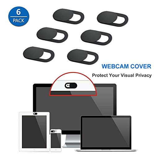 Cemobile 6 Pack Webcam Cover Slide, Ultra Thin Web Camera Cover Blocker with Strong Adhesive for Laptop, Desktop, PC, MacBook Pro, iMac, Computer, Smartphone, Tablet. Protect Your Privacy and Security