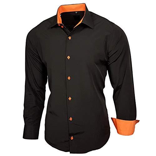 Baxboy Elastisch Hemd Slim Fit für Freizeit Business Hochzeit Reine Farbe Hemd Kentkragen Langarm Kontrast Herren-Hemd B-502, Größe:L, Farbe:Schwarz/Orange