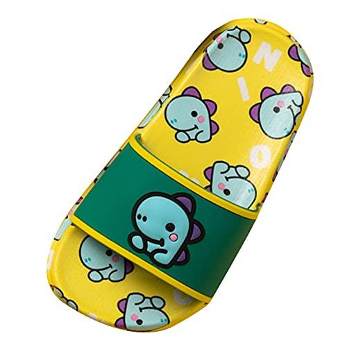 Zapatillas antideslizantes para estar por casa, para niñas, jóvenes, para la playa, verano, antideslizantes, unisex, con dibujos animados, dinosaurios, suela suave, amarillo, 26