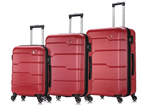 """DUKAP Hardside Spinner 3 Piece Luggage Set with Ergonomic Handles and TSA Lock, Rodez Collection Travel 20"""" 24"""" and 28"""" Suitcase with Four Spinner Wheels and Studs, Red"""