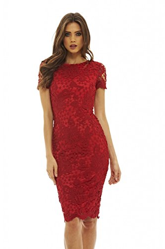 AX Paris Women's Crochet Lace Midi Dress(Red, Size:6)
