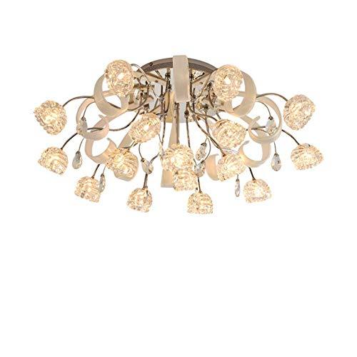 Plafondlamp 16 vlammen bloemendesign gebogen armen en mooie details metaal en glas in de slaapkamer keuken woonkamer balkon diameter 76 x 27 cm G4 x 16