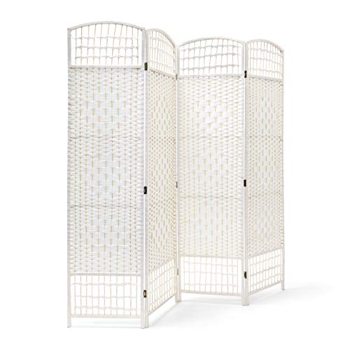 Relaxdays Paravent H x B x T: 179 x 180 x 2 cm faltbarer Raumteiler und Spanische Wand mit Streben aus Bambus als Sichtschutz bestehend aus 4 Elementen als blickdichter Raumtrenner aus Holz, weiß