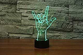 3D I Love You Sign Night Light Table Desk Optical Illusion Lamps 7 Color Changing Lights LED Table Lamp Xmas Home Love Brithday Children Kids Decor Toy Gift