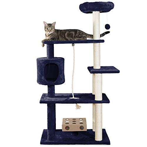 Furhaven Pet Cat Tree - Tiger Tough Cat Tree House Condo Entertainment Playground Furniture for Cats and Kittens, Deluxe Playground, Blue