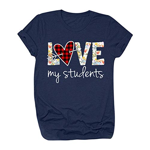 My Students Graphic Tee Shirt für Frauen Valentinstag Buffalo Plaid Love Heart Letter Print Bluse Kurzarm Tops Gr. Small, navy