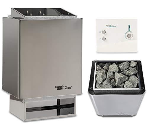 Sauna-Set Saunaofen EOS 34.A mit Saunasteuerung und Saunasteine time4wellness (6 kW, Saunasteuerung K1)