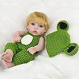RUBAPOSM Realista Cabello Rubio Reborn Baby Dolls Green Set de Cuerpo Completo de Silicona Suave Reborn LOL Surprise Baby 18 Pulgadas Recién Nacido Baño Impermeable Juego de Regalo Realista