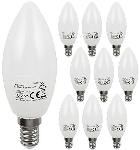 Pack de 10 bombillas LED tipo vela, 7 W, E14, C37, 160°, sin parpadeo, controlador IC regulable, 0-100%, luz blanca diurna (4000 K)