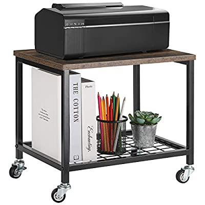Under-Desk Printer Stand, Printer Cart with 2 Tier Wood Storage Shelves, Industrial Printer Holder Rack with Lockable Casters and Anti-Skid Feet for Office Home, Rustic Brown and Black
