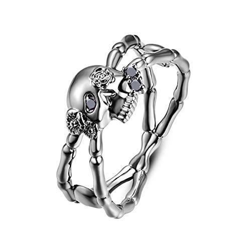 Psiroy Black Created Black Spinel Criss Cross Skull Ring for Women Size 8