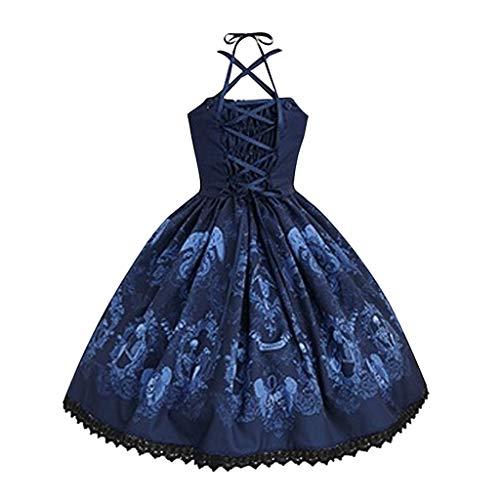 DQANIU Damen Kleid, Damen Skull Print Punk Style Strap Hepburn Kleid Big Swing ärmellos Plus Size Party Kleid Cosplay Kleid