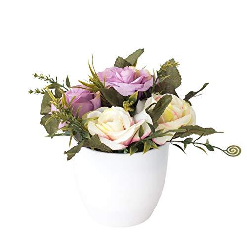 Brussel Artificial Magnolia-Rose Flower in Pot, Simulation Fake Bonsai with Vase for Shop Desk Patio Balcony Garden Party Wedding Decor Purple