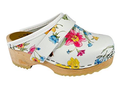 MB Clogs Original Svezia Clogs - Zoccoli in legno per bambini Summer Flower, Bianco (bianco), 28 EU
