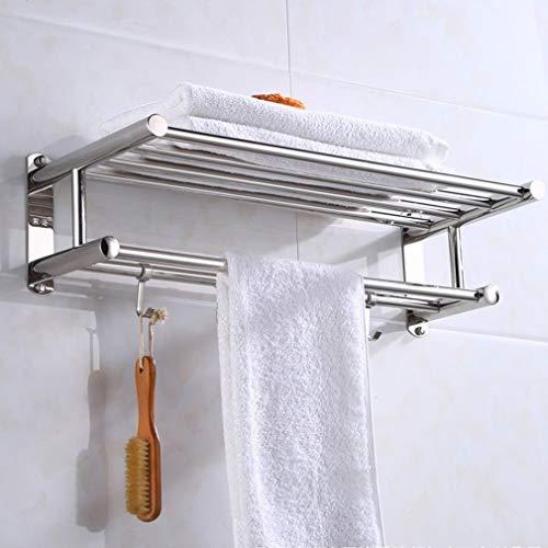 Blanco Toalla de baño de acero inoxidable Toalla de pared Toalla de pared Toalla de baño Ropa Organizador Estante de almacenamiento con 4 ganchos calientes (Color : 40CM)