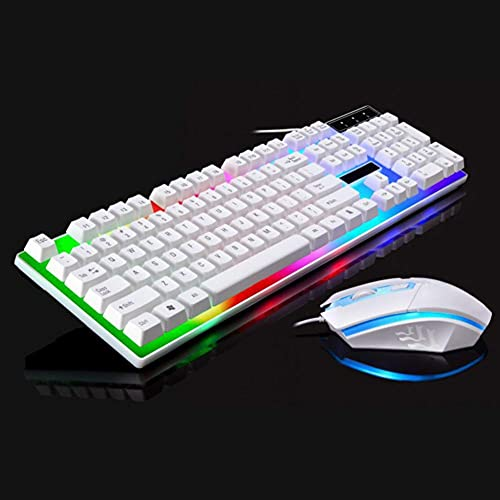 Mechanical Feel Gaming Keyboard and Mouse Combo Rainbow Backlit Keyboards, for PS4/PS3/Xbox One and 360 Wired Computer Keyboard and Mouse Combo (White)