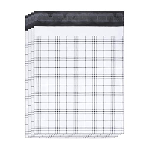 Dioxide Poly Mailers 10x13 Inch, 100 Pack Poly Mailers, Cute Black Gingham Plaid Shipping Bags, Stripes Mailers Bags Self Sealed, Mailers Poly Bags Self Adhesive Strip, Multipurpose Mailing Bags