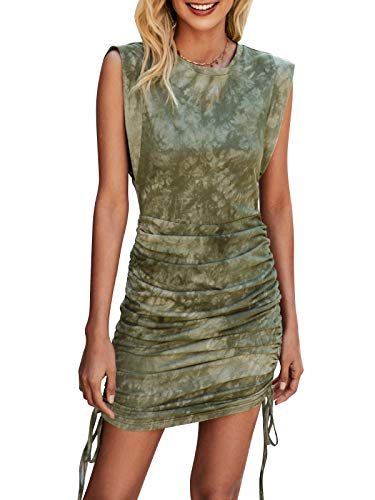 Bequemer Laden Damen Ärmelloses Sommerkleid Rundhalsausschnitt Minikleid Blusenkleid Kleid mit Geraffter Seiten-Kordelzug für Freizeit Party...
