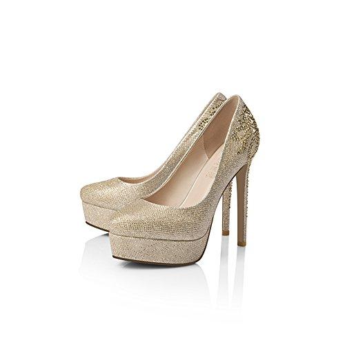 Pumps XUERUI Neue goldene Wasserdichte Plattform mit hohen einzelnen Schuhen weibliche Rhinestonehochzeitsschuhe fein mit runden hohen Absätzen (größe : EU39/UK6/CN39)