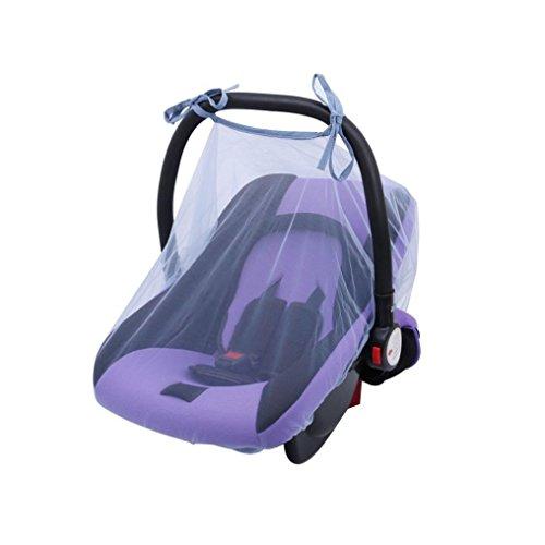 Longra Vliegengaas voor babystoel, gordijn, voor pasgeborenen, autostoel, insectennet, deken, luifel in de vloer, bedtent, met hemel, waterdicht, kinderwagen en kinderwagen, bed, autostoel