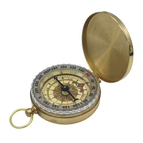 LIOOBO Vintage Kompass Tasche Leuchtende Kompass Kupfer Kompass für Bergsteigen Camping Wandern Abenteuer Überlebensausrüstung