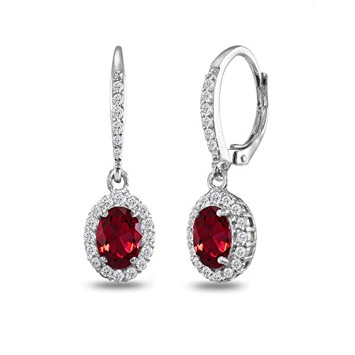 Sterling Silver Synthetic Ruby Oval Dangle Halo Leverback Earrings with White Topaz Accents