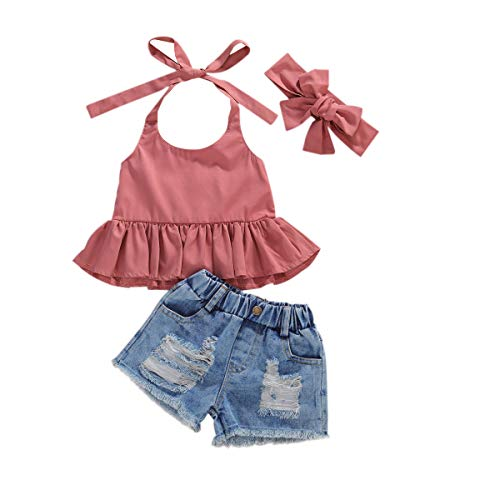 Toddler Baby Girl Summer Outfits Sleeveless Ruffle Tops Ripped Denim Shorts Headband Clothes Set (Pink top+ Jean Shorts, 4-5T)