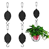 Sunnayc Retractable Plant Pulley, Adjustable Plant Hanger Hook with Locking Mechanism for Hanging Plants, Garden Flower Baskets, Pots and Bird Feeders, Lower and Raise in Different Height, Black (4)