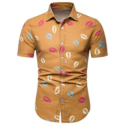 waotier Camisa De Manga Corta con Estampado De Moda para Hombres PatróN De Beso Ropa De Verano para Hombre