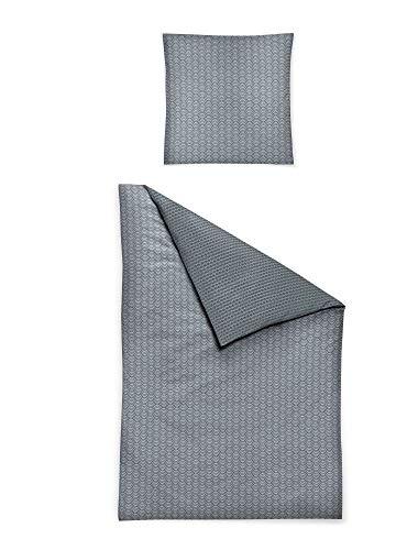 Irisette Mako Satin Bettwäsche 2 teilig Bettbezug 135 x 200 cm Kopfkissenbezug 80 x 80 cm Palma 8257-11 grau