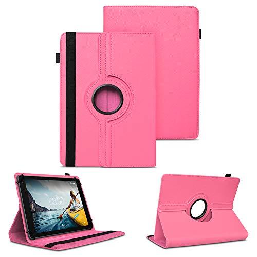 NAUC Tablet Schutzhülle kompatibel für Medion LifeTab P8502 Hülle Tasche Standfunktion 360° Drehbar Cover Universal Hülle, Farben:Pink