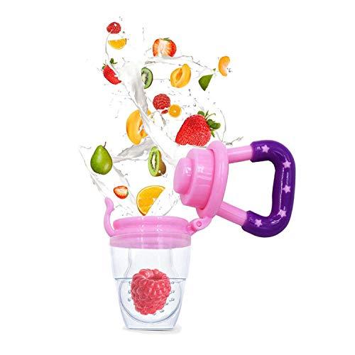Baby Fruchtsauger Schnuller – Yisscen Frischkost Schnuller mit 3 verschiedenen Größen Silikon Schätzchen Schnuller Ersatz (S, M, L) – Baby Zahnen Nibbler Beißring Schnuller für Obst und Gemüse (Rosa) - 2