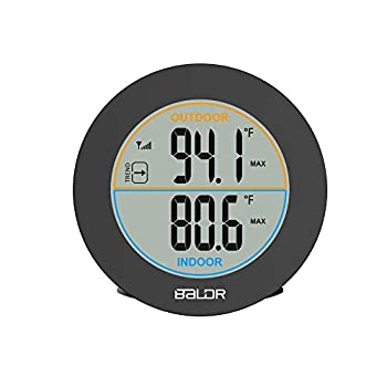 """BALDR Wireless Indoor/Outdoor Thermometer - Surface or Wall Mounted Temperature Monitor 2.5"""" LCD Display Thermometer with Min/Max Records & Trend Arrows"""