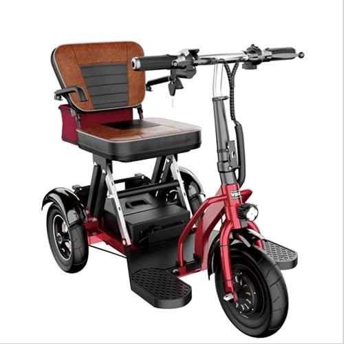 EWYI 3 Ruedas Scooter De Movilidad Plegable Coche Eléctrico para Discapacitados con 3 Cambios De Marcha, Triciclo Eléctrico Ligero para Adultos Mayores Discapacitados 12AH/40KM